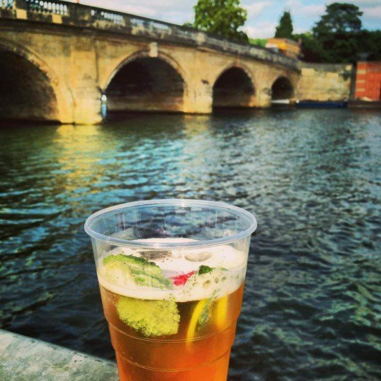 A Pimms with a view (mind the plastic glass.. health and safety and all...)