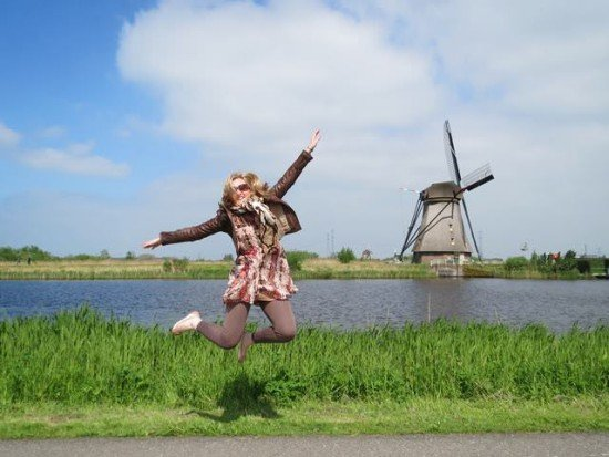 Clare Farrell having a wee jump at Kinderdijk in Holland