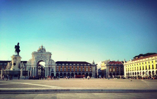 The first sight: the newly 'finished' Praca do Comercio