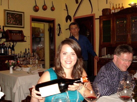 Rosie enjoying the Magnum of Cavallotto Vigna San Guiseppe Riserva