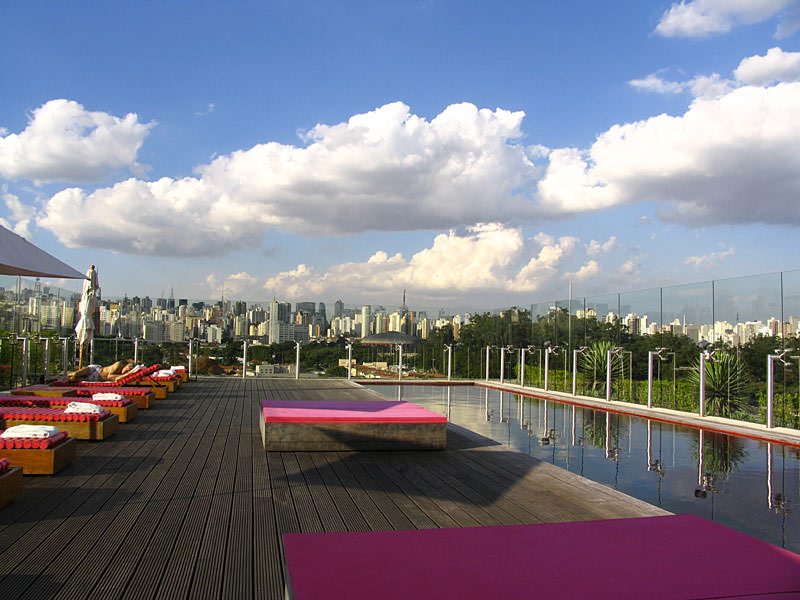 The rooftop pool at Hotel Unique, São Paulo