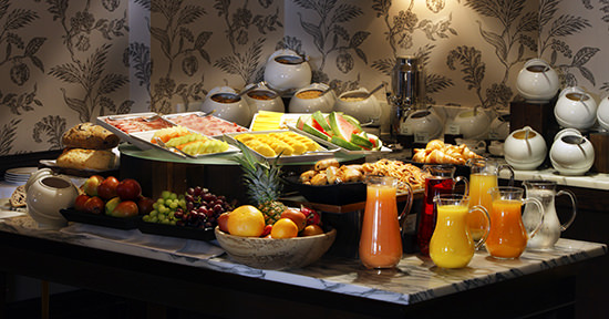 The yummy Continental breakfast buffet
