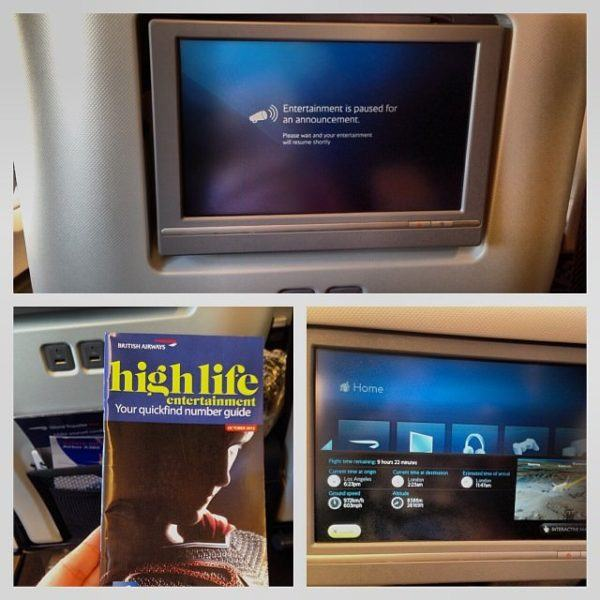 British Airways World Traveller Plus IFE system