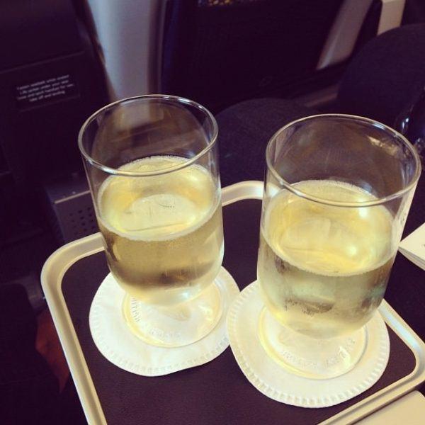 BA Premium economy pre departure drink