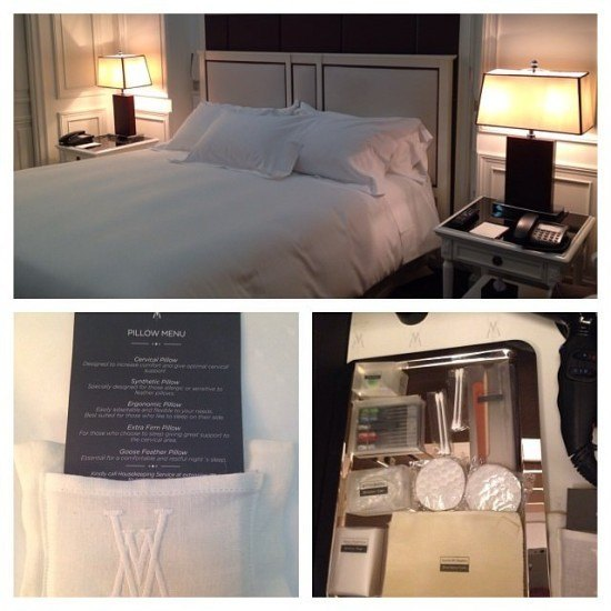 Incredible attention to detail - the bed, the pillow menu and the amenities drawer in the closer.