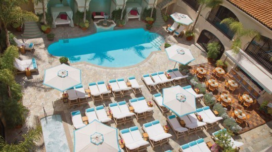 The cozy pool at the Beverly Wilshire