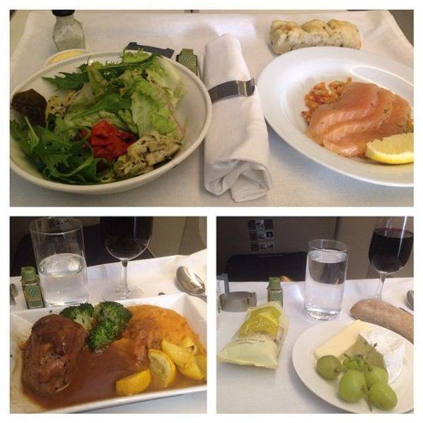 The BA Club World British Airways Business Class onboard lunch service