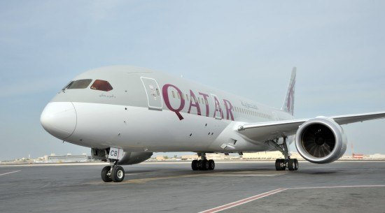 The new Qatar Airways Boeing 787 Dreamliner.