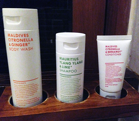 Lux South Ari Atoll Maldives hotel toiletries