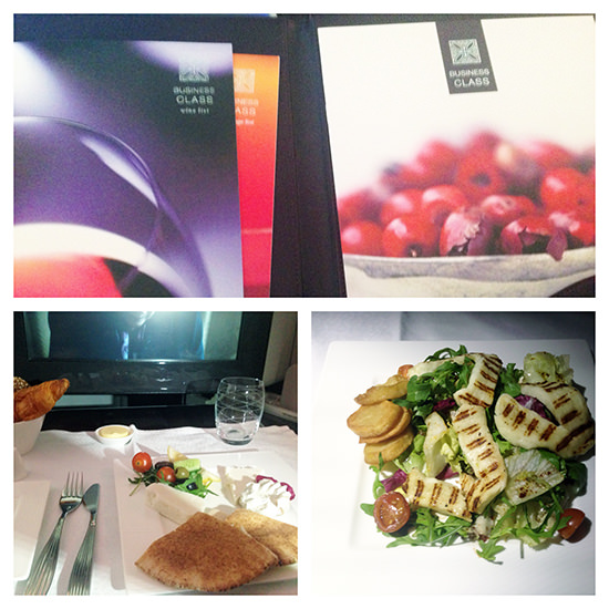 qatar airlines business class menu and food