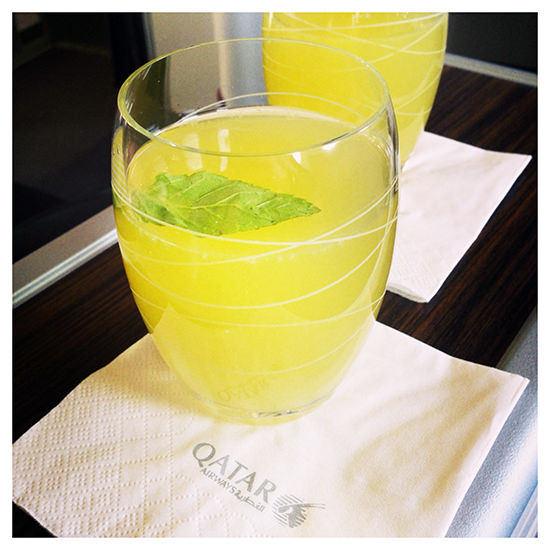 qatar airlines in flight drinks lemon and mint juice
