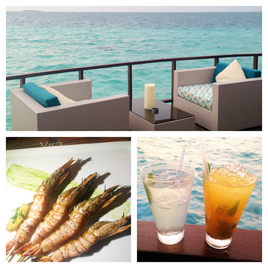 A drink with a view…. and the prawns were lovely too.