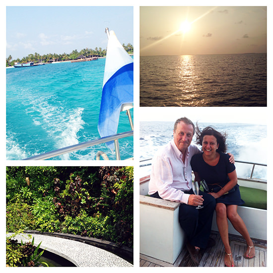 The last sunset, boat trip and spa... (and the only photo Mr. O and I have together!)