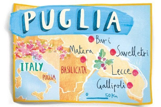 Map of Puglia, Italia