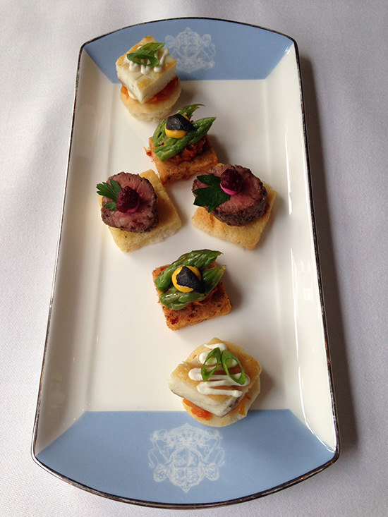 Delicate and delicious canapés, which were matched to the Laurent Perrier champagne served on board the British Pullman.