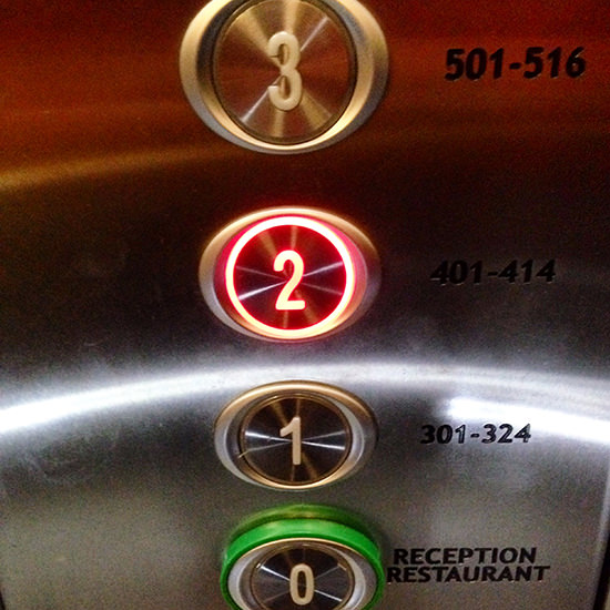 A very interesting lift, I have to say - you really need to know your room number.