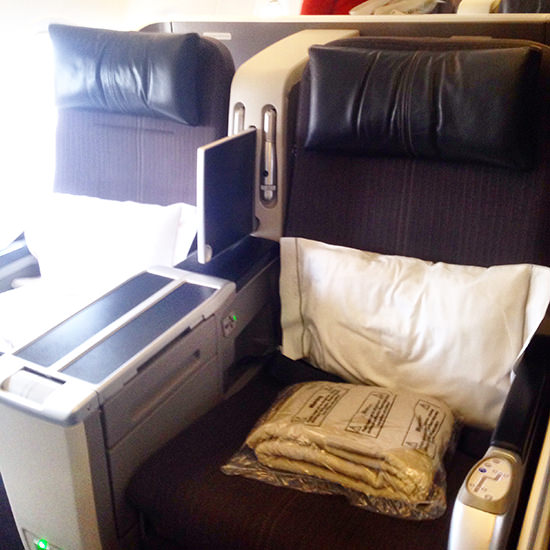 Fully reclinable (180 degrees) seats, which were roomier than normal Club World seats.