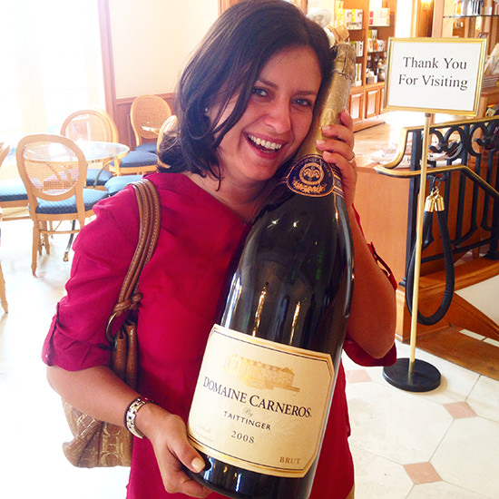 Who's a happy girl?? At Domaine Carneros by Taittinger in Napa