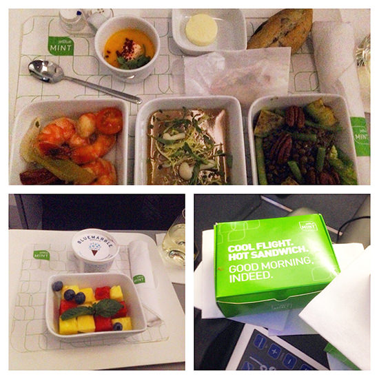 Jet Blue Mint business class service dining experience