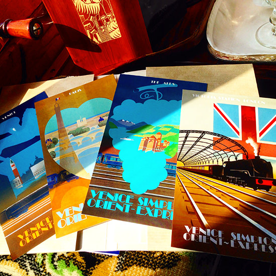 orient express train postcards