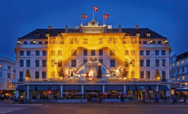 weekend in Copenhagen city break Christmas lights at the iconic Hotel d'Anglaterre