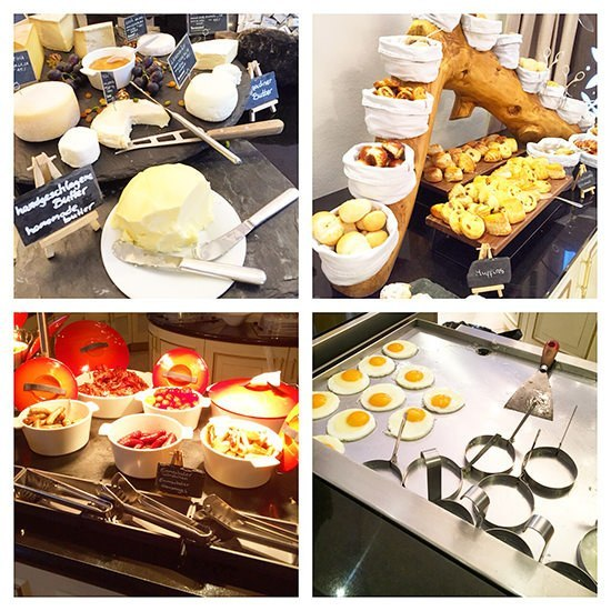 The breakfast at the Kempinski St Moritz