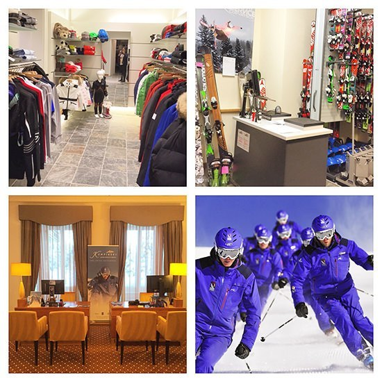 The ski shop, ski rental area, the very well dressed Kempinski Ski Guides and the booking area. All very slick and guest friendly.