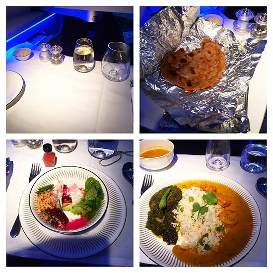Our lunch onboard Jet Airways' Premiere cabin