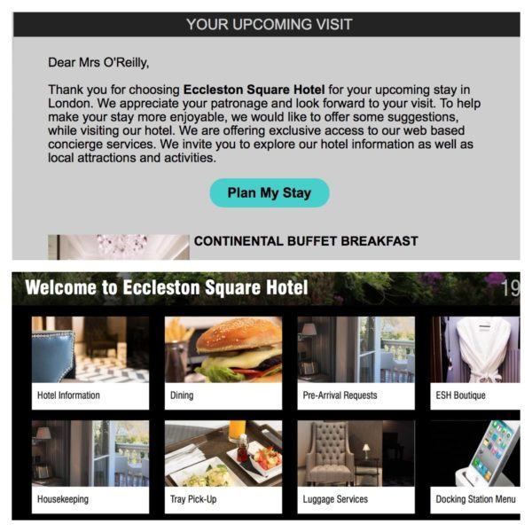 eccleston square hotel london welcome email