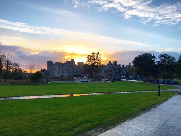 ashford castle luxury hotel ireland arrival sunset