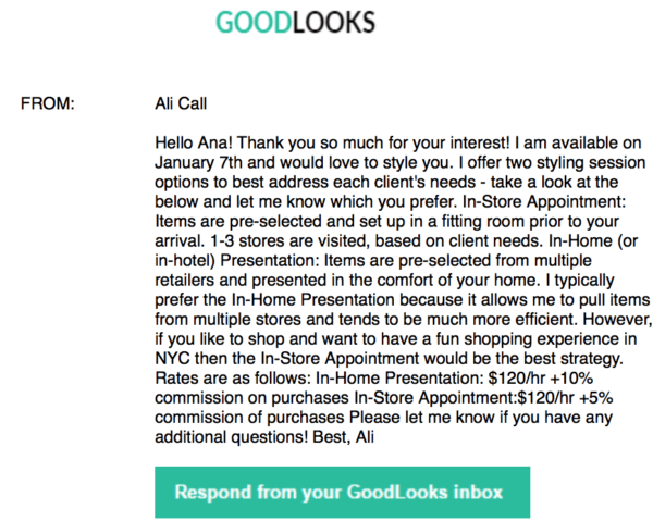 goodlooks personal stylist service ali call correspondence