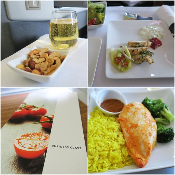 flight review american airlines business class london to miami B777-300 main meal
