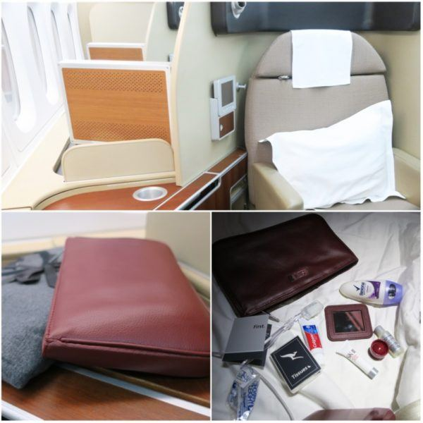 flight review qantas first class 380 dubai to london first class suite SKII toiletries