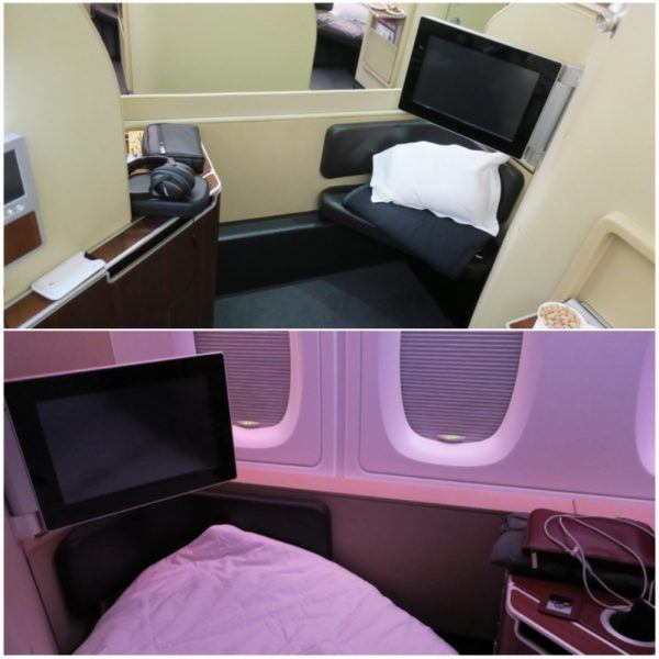 flight review qantas first class 380 dubai to london first class suite flat bed