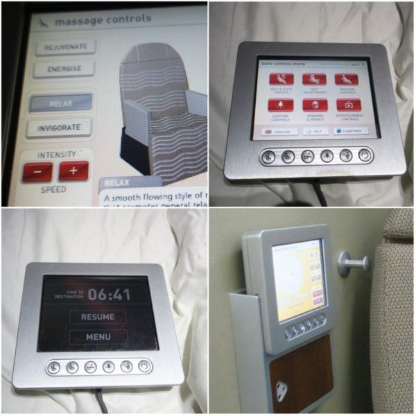 flight review qantas first class 380 dubai to london first class suite seat controls