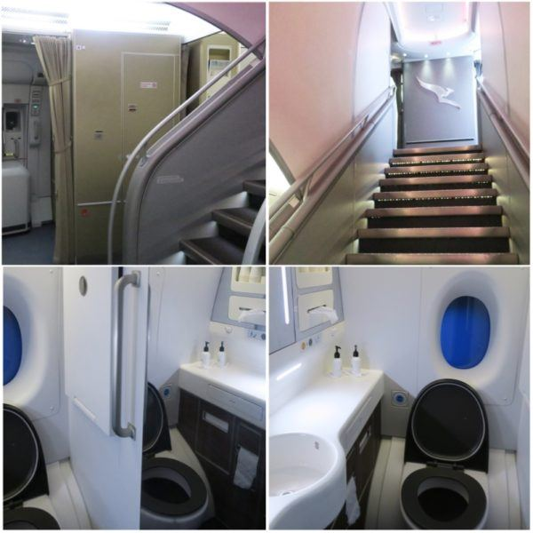 flight review qantas first class 380 dubai to london first class suite toilets and stairs