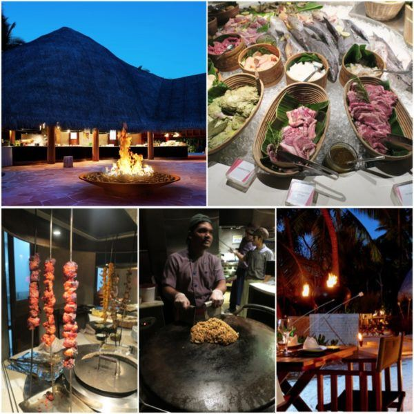 w maldives starwood spg luxury hotel fire restaurant dinner half board