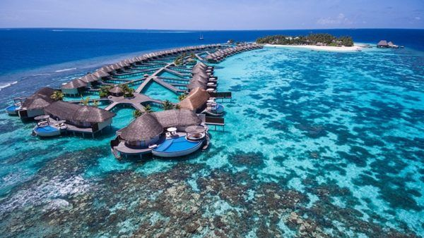 w maldives starwood spg luxury hotel sea plane aerial view