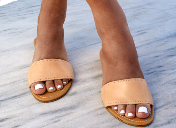beige colour leather slide sandals