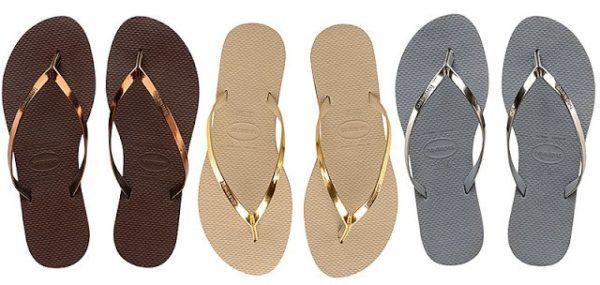 metallic havaianas flip flop sandals