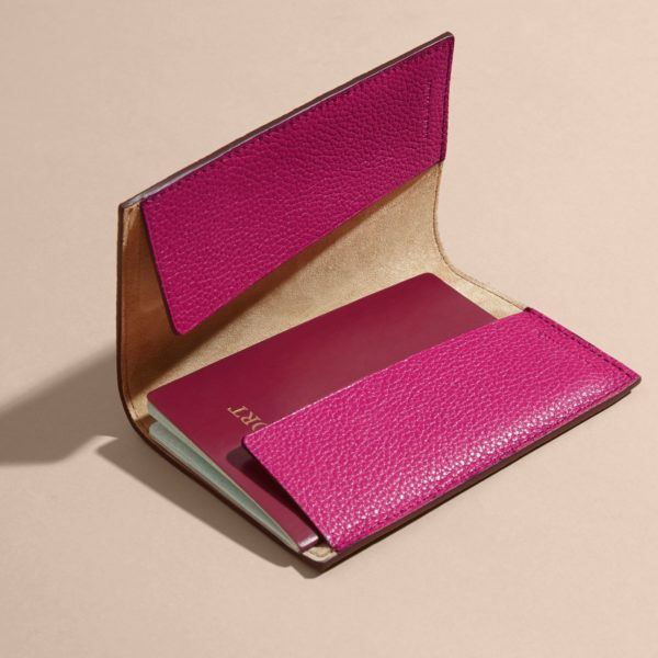 Burberry Grainy Leather Passport Holder Pink