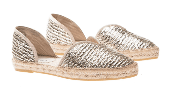 manebi Open-side Flats - Los Angeles - Platinum flat espadrille top 10 designer espadrilles for your next holiday shoe essentials packing list