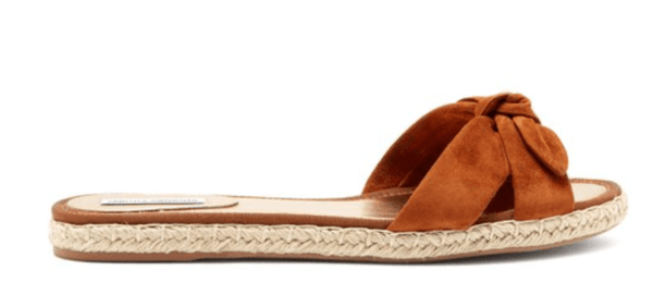 tabbita simmons Heli knotted caramel flat espadrille top 10 designer espadrilles for your next holiday shoe essentials packing list