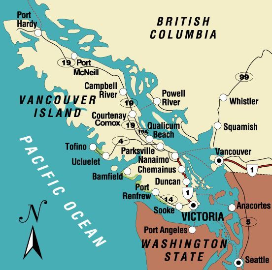 victoria vancouver seattle map