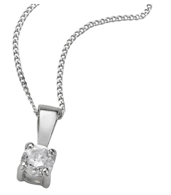9ct white gold 025ct diamond pendant necklace ernest jones