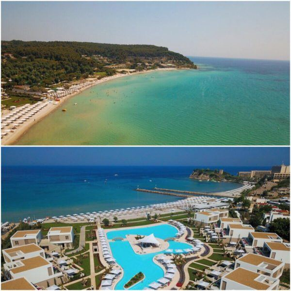 sani dunes luxury beach hotel resort halkidiki greece sovereign luxury travel drone photo of resort