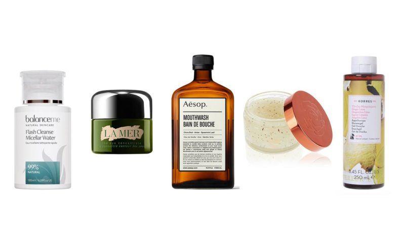 top 5 beauty essentials spring 2019 balance me micellar water aesop mouth wash la mer eye cream rosie autograph scrub korres body wash