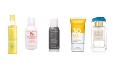 top 5 beauty essentials summer biotherm clarins bumble and bumble aerin perfume living proof dry shampoo