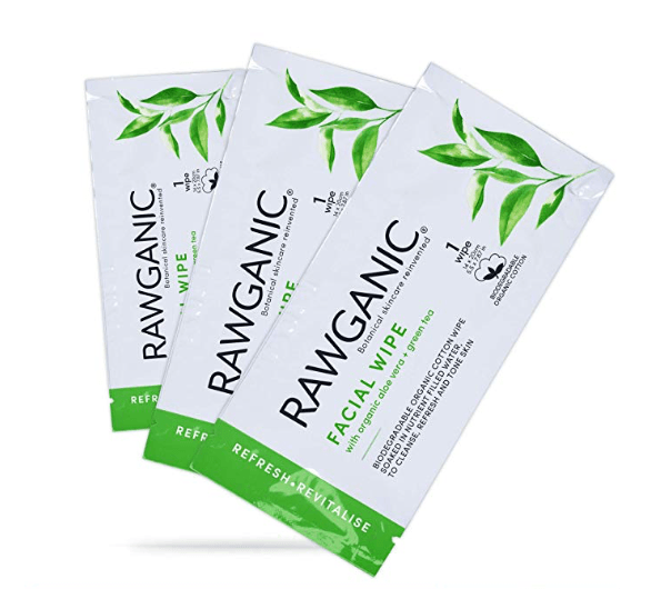 Long haul flight beauty essentials RAWGANIC Refreshing Facial Wipe Sachets single packs