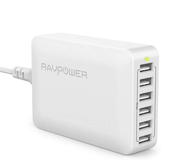 RAVPower USB Charger, USB Power Plug Charging Stations with 60W 6-Port Multi Desktop Charger for iPhone top 10 travel tech gadgets macbook iphone